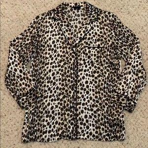 Silk Leopard Print Top